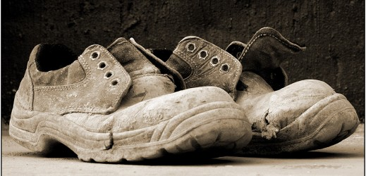 well worn builders boots (sepia)