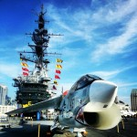 Fighter jet parked onboard USS midway aircraft carrier #ship #jets #navy