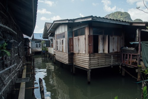 Koh Panyi's floating village, mostly built on wooden stilts.